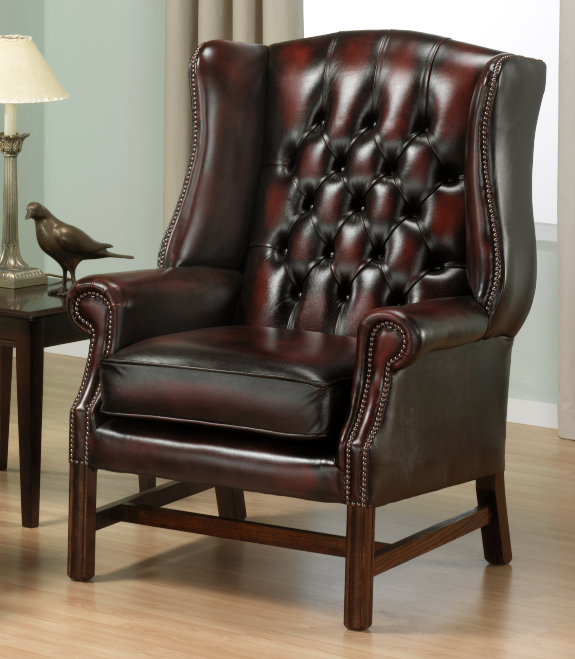 Georgian high back wing chair English Chesterfields